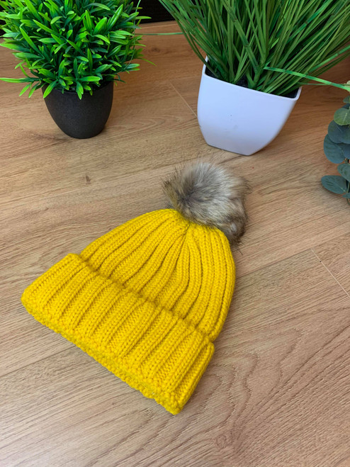 Night on The Seine Bright Mustard Faux Fur Pom Pom Hat