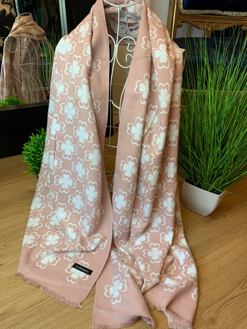 Feeling Lucky Petalled Blossom Large Pink Cashmere Scarf