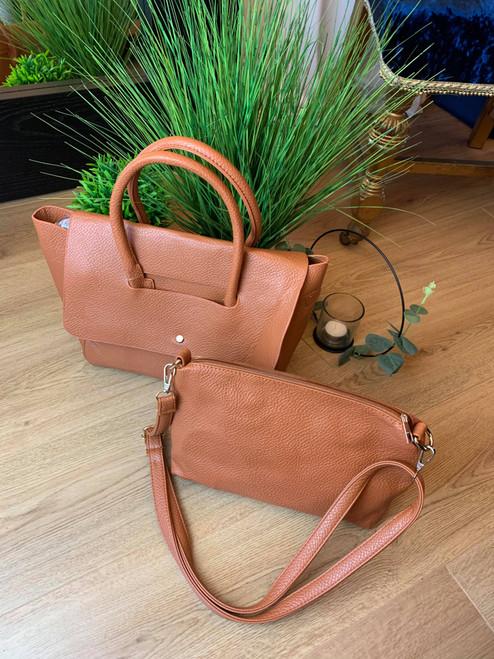 Keep It Classic Tan Faux Lambskin Tote Handbag & Pouch
