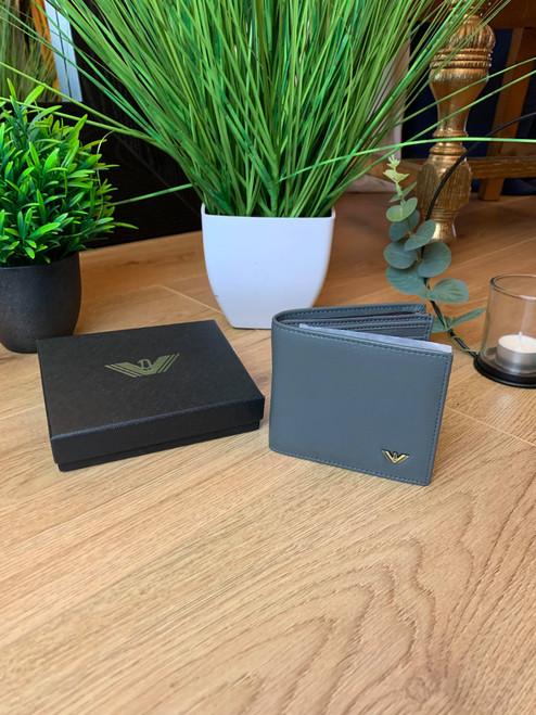 Designer Inspired Grey Leather Men's Wallet & Gift Box
