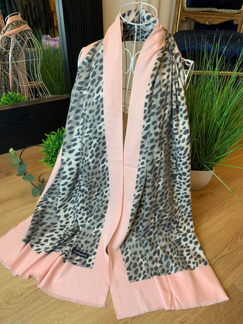 Cashmere Crush Baby Pink Leopard Print Large Scarf