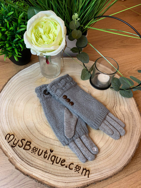 Call Me Cozy Grey Cable Knit 3 in 1 Gloves