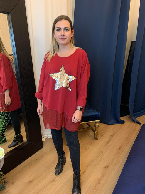 Neverland Wine Sequined Star 3/4 Sleeve Oversized Top With Organza Insert