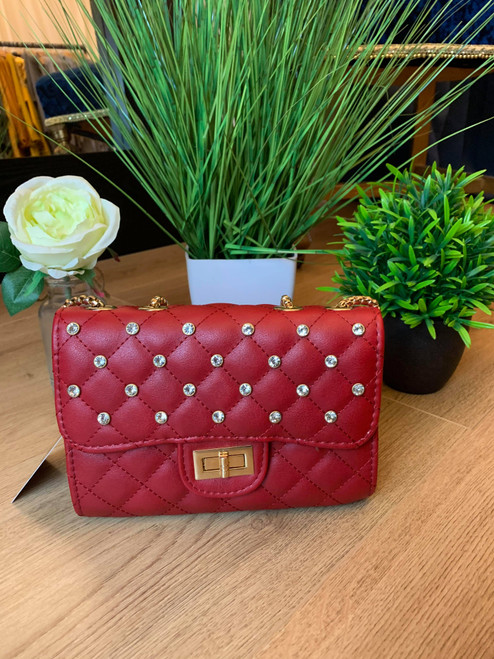 Tell Me About It Red Chain Handbag With Studs And Padded Design