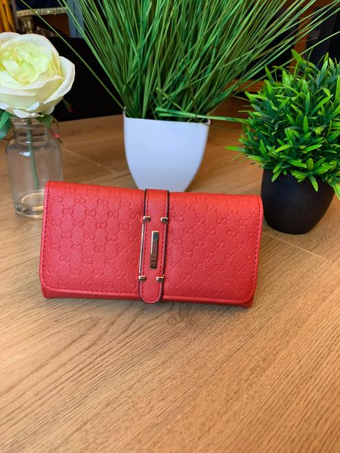 Cristina Designer Inspired Red Press Grain Fold Over Purse With Gift Box