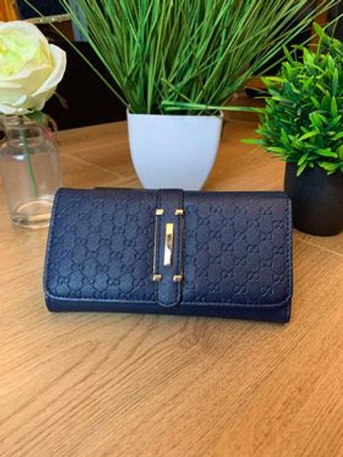 Cristina Designer Inspired Blue Press Grain Fold Over Purse With Gift Box