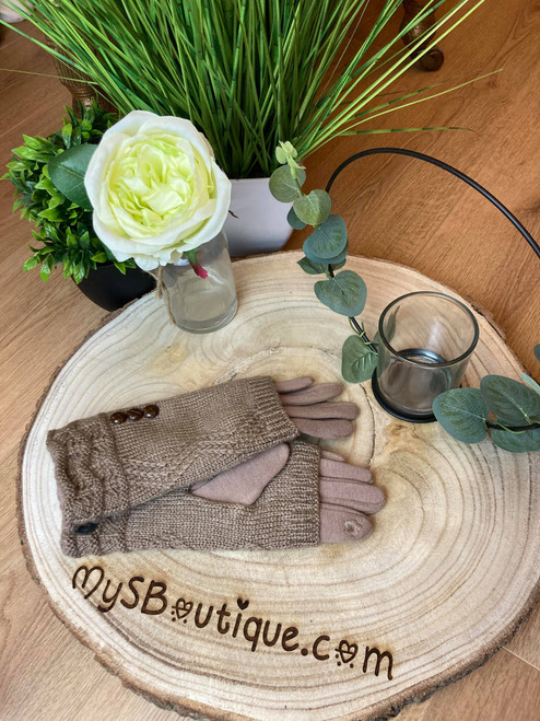 Call Me Cozy Beige Cable Knit 3 in 1 Gloves