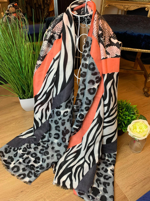 Roaring Success Grey Mixed Animal Print Scarf With Pink Border