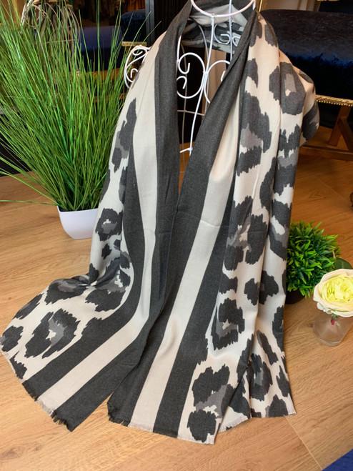 Feline Fine Charcoal Cashmere Leopard Print Scarf