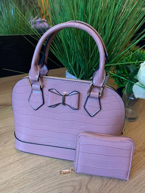 Dusky Pink Bow Designer Inspired Bowler Bag and Purse Set