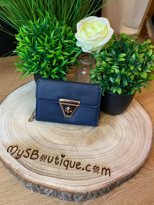 Meet Me At Midnight Blue Leather Fold Over Purse