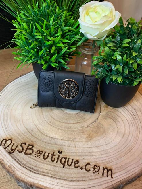Designer Inspired Darcey Black Floral Embossed Fold Over Purse With Gold Hardware