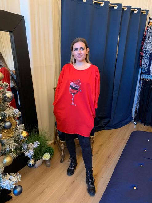 A Very Merry Christmas Red High-Low Christmas Wine Glass Sweatshirt