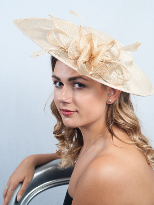 Oversized Teardrop Golden Straw Peony Sinamay Hat Fascinator