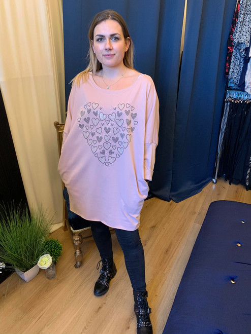 Love At First Sight Blush Pink Oversized Long Sleeved Heart Motif Dipped Hem Top
