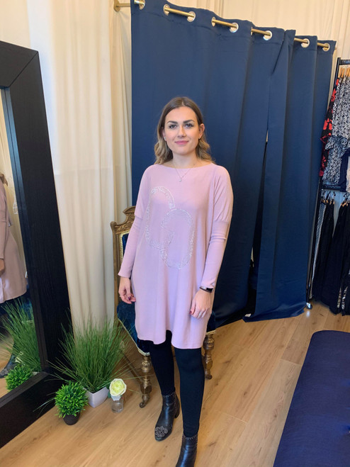 Pretty In Pink CC Embellished Oversized Fine Knit Jumper