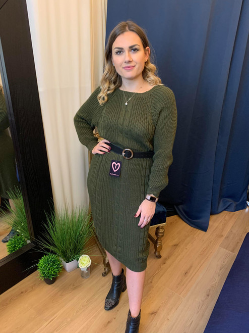 Novah Cable Detail Khaki Knitted Jumper Dress