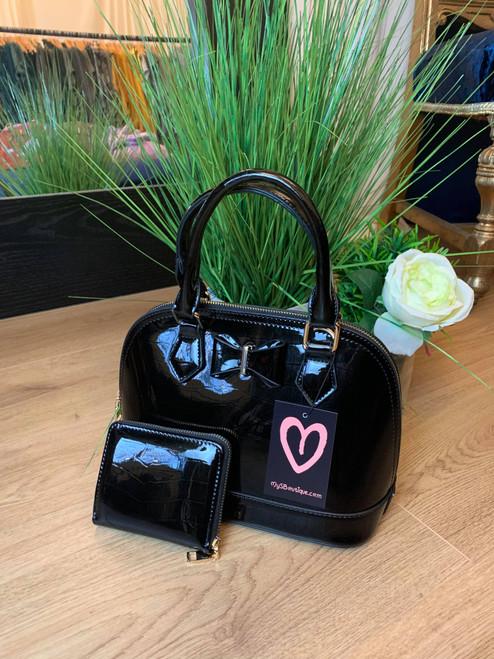 Black Bow Designer Inspired Bowler Bag and Purse Set