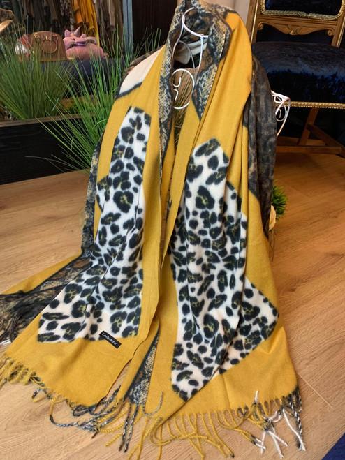 Bookies Favourite 100% Cashmere Mustard Zebra Print Winter Scarf