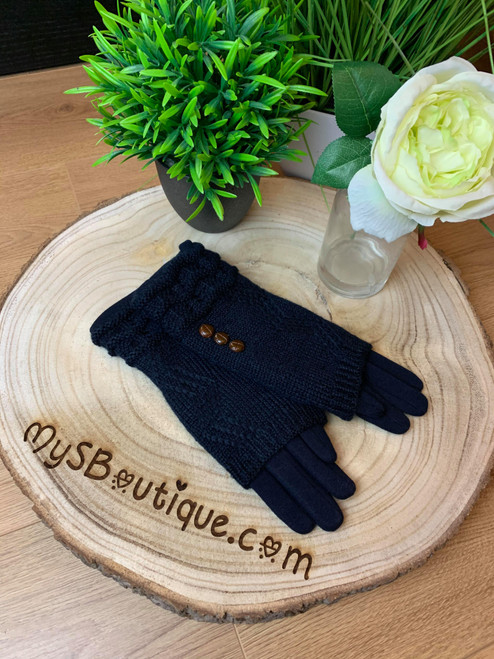 Call Me Cozy Navy Cable Knit 3 in 1 Gloves