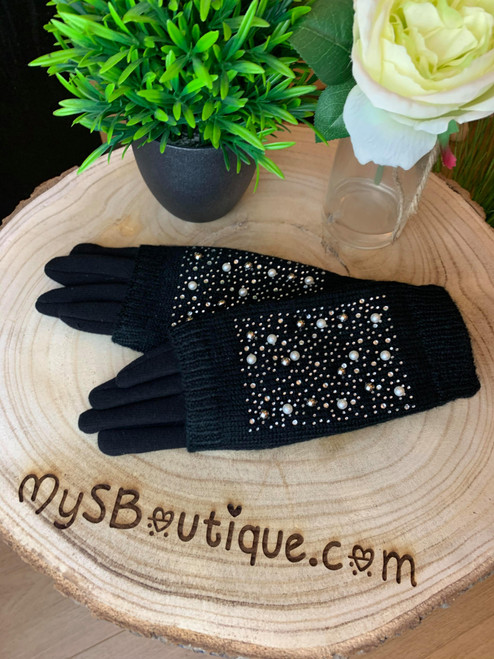 Blinding Lights Diamante & Pearl Embellished Black Touch Screen  3 in 1 Gloves