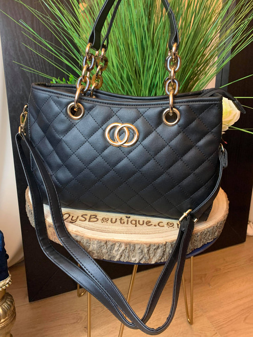 Jet Set Black Ladies Tortoise Shell Detail Handbag