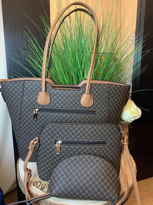 The Weekend Fashionista Brown Triple Handbag Set