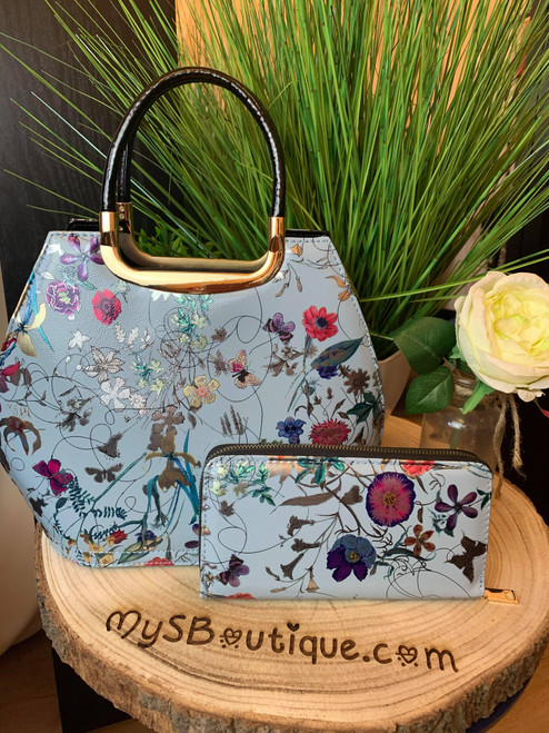 Fabulously Floral Pale Blue Bowler Bag And Purse Set