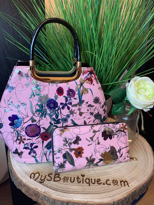 Fabulously Floral Pink Bowler Bag And Purse Set