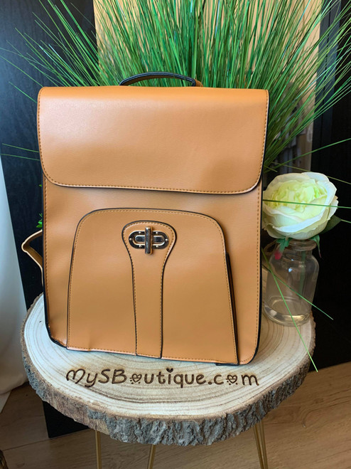 Girl On The Go Tan Postman's Lock Backpack