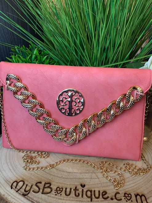 Designer Inspired Coral Curb Chain Detail Clutch Bag