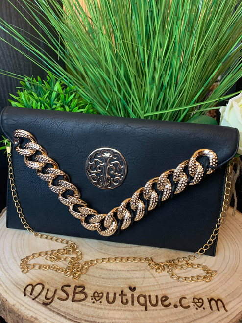 Designer Inspired Curb Chain Detail Black Clutch Bag