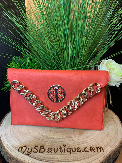 Designer Inspired Curb Chain Detail Red Clutch Bag