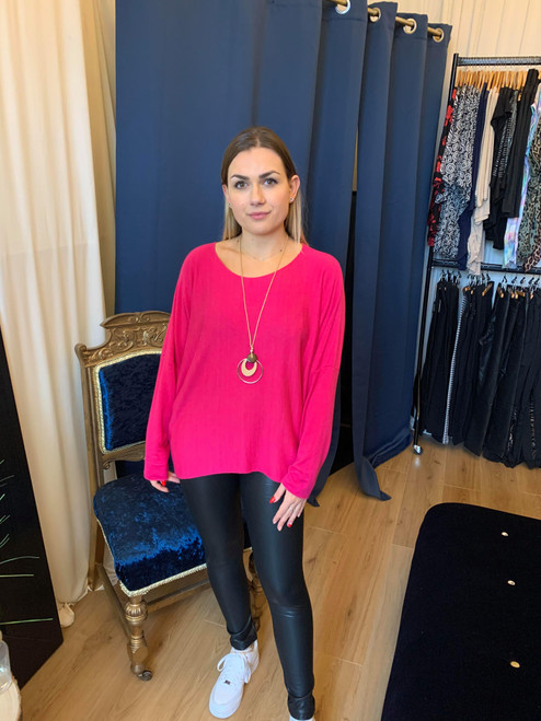 Cosy For Days Hot Pink Fine Knit Jumper With Necklace