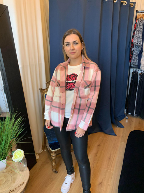 Check Me Out Blush Pink Oversize Check Shacket
