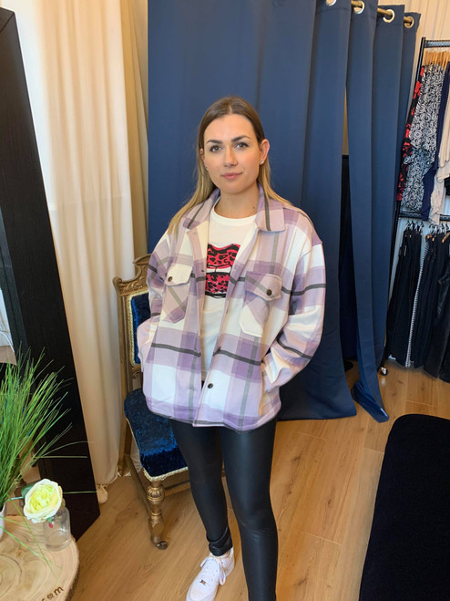 Check Me Out Lilac Oversize Check Shacket