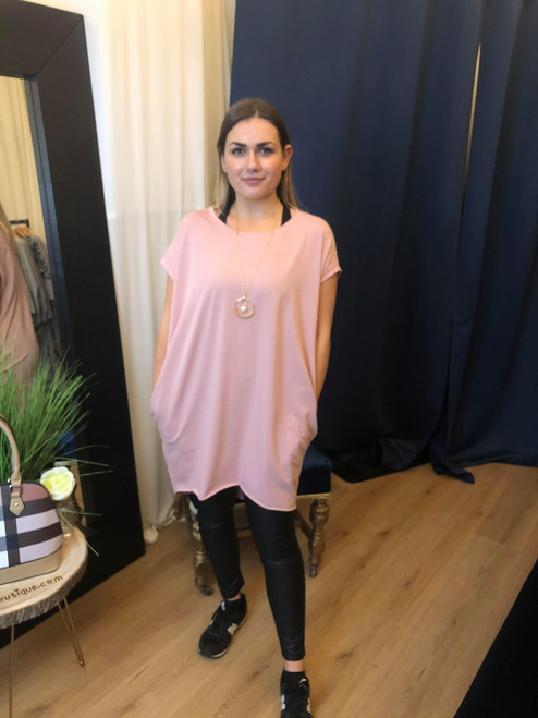 Circle of Love Oversized Blush Pink Top with Gold Eternal Necklace