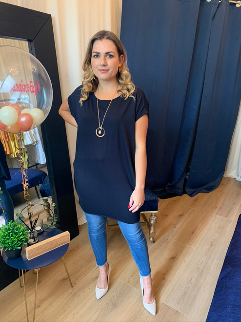 Circle of Love Oversized Navy Top with Gold Eternal Necklace