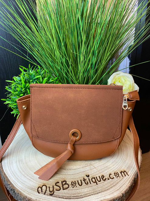 Into The Forest Tan Suede Saddle Bag