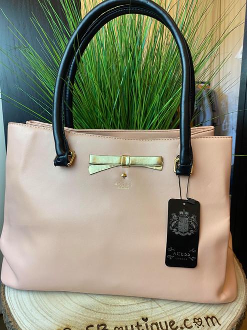 Levanzo Pink & Black Bow Detail Tote Handbag