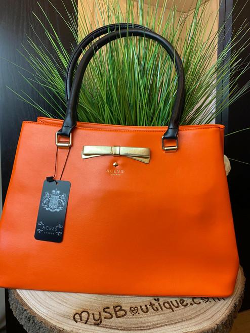 Levanzo Orange & Black Detail Tote Handbag