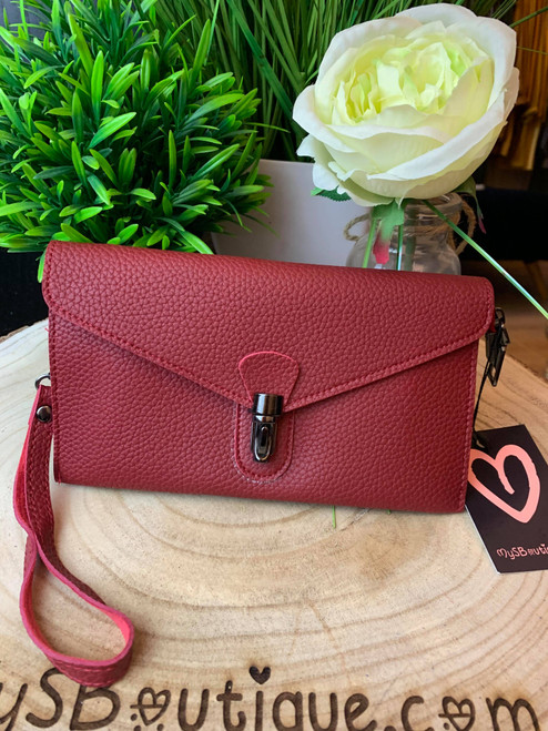 Continental Jet Set Style Micro Clutch with Wristlet & Shoulder Strap Red