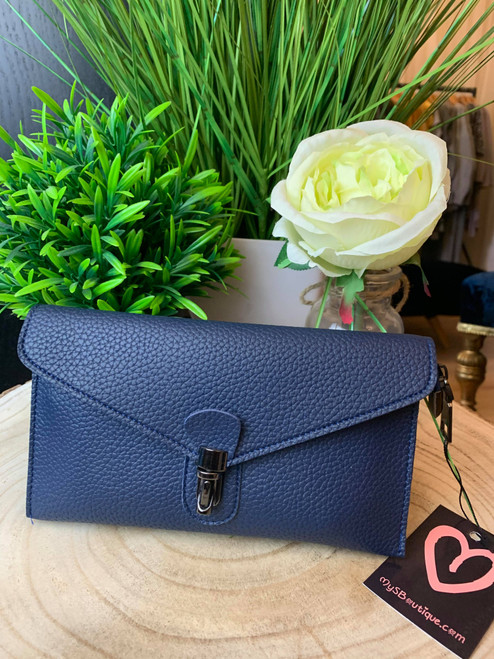 Continental Jet Set Style Micro Clutch with Wristlet & Shoulder Strap Navy