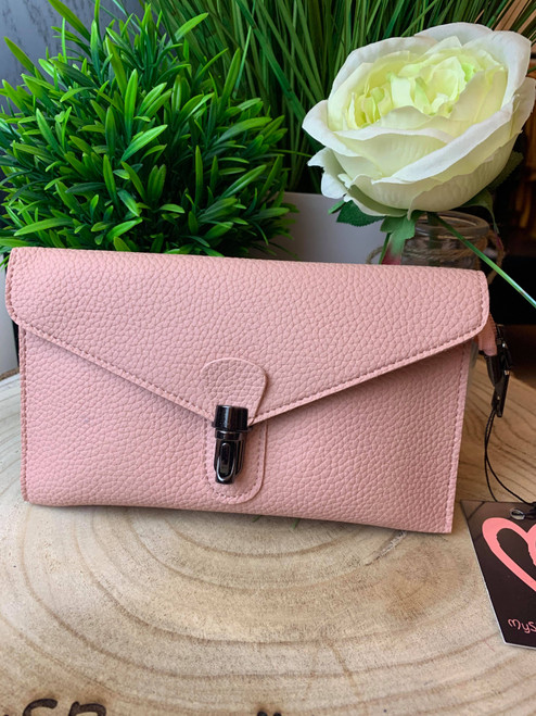 Continental Jet Set Style Micro Clutch with Wristlet & Shoulder Strap Blush Pink
