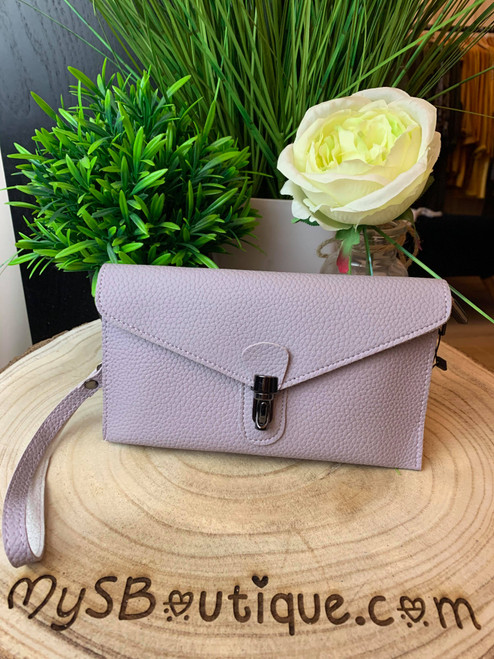 Continental Jet Set Style Micro Clutch with Wristlet & Shoulder Strap Lilac