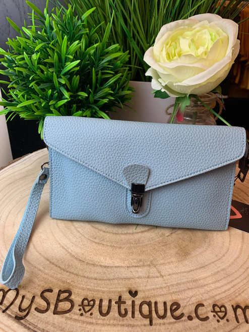 Continental Jet Set Style Micro Clutch with Wristlet & Shoulder Strap Blue