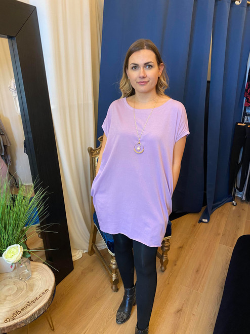 Circle of Love Oversized Lilac Top with Gold Eternal Necklace