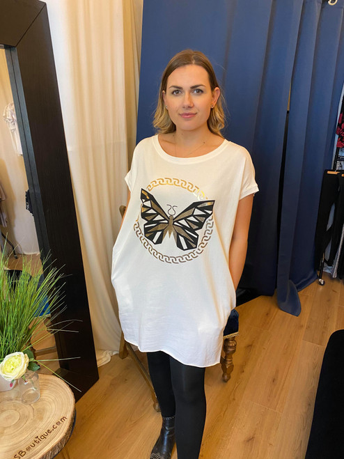 Adonis Cream Dipped Hem Butterfly Motif Top