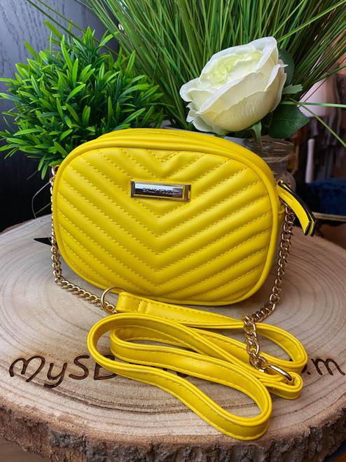 Designer Inspired Yellow Chain Strap V Quilted Bag