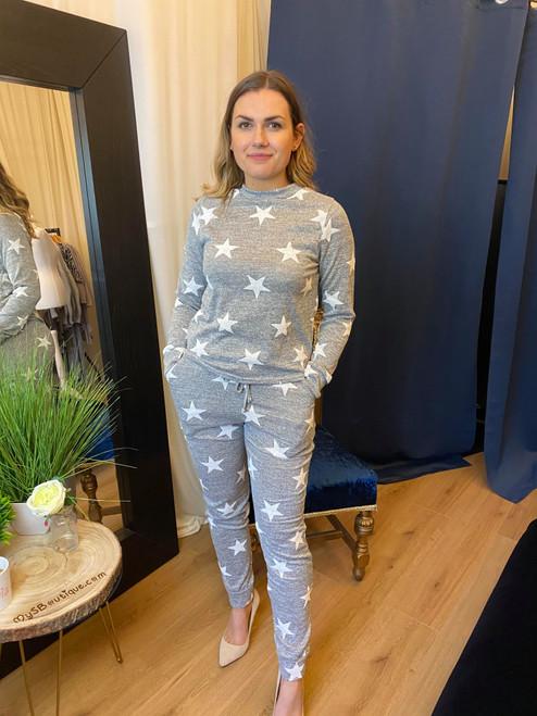 Counting Stars Grey & Cream Star Print Lounge Wear Set